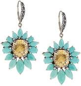 Stephen Dweck Fan Yellow Quartz & Turquoise Drop Earrings