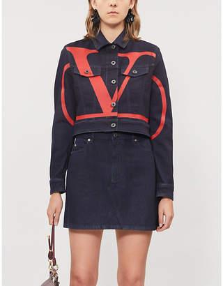 Valentino Go logo cropped denim jacket