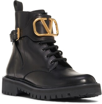 Valentino Garavani V-Logo Buckle Combat Boot