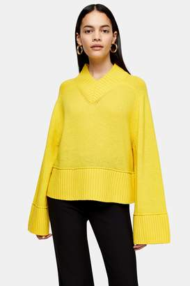 Topshop Womens **Yellow Lambswool Blend V Neck Jumper By Yellow