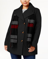 London Fog Plus Size Peacoat with Scarf