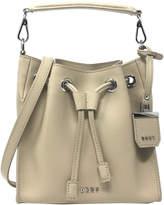 DKNY Saffiano Drawstring Leather Bucket Bag