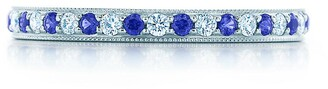 Tiffany & Co. Legacy Collection band ring in platinum with diamonds and sapphires