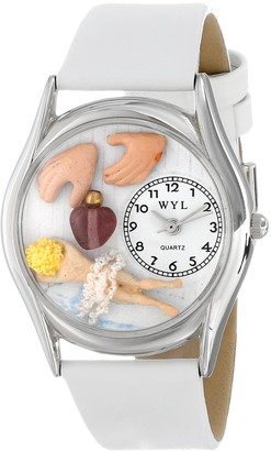 Whimsical Watches Massage Therapist White Leather and Silvertone Unisex Quartz Watch with White Dial Analogue Display and Multicolour Leather Strap S-0630011