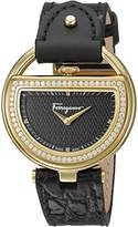 Salvatore Ferragamo Women's 'Buckle' Quartz Stainless Steel and Leather Casual Watch, Color:Black (Model: FG5140015)
