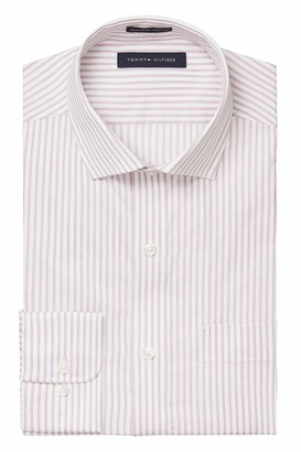 Tommy Hilfiger Men's Dress Shirt Regular Fit Stretch Stripe