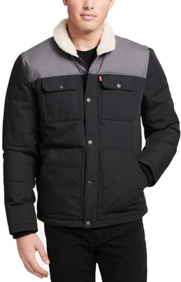 Levi's Men's Woodsman Arctic Cloth Sherpa-Collar Quilted Trucker Jacket