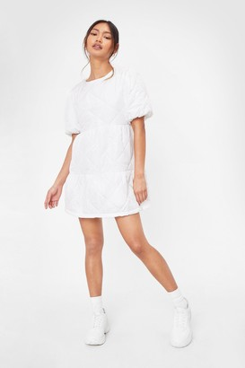 Nasty Gal Womens Petite Quilted Puff Sleeve Mini Dress - White - 4