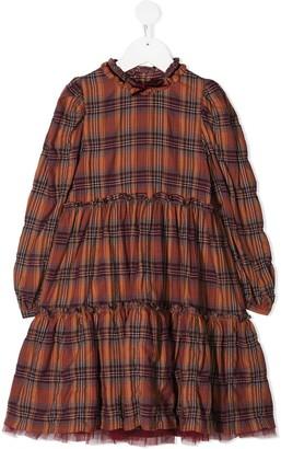 Il Gufo Long Tiered Check Dress