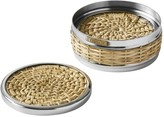 AERIN Woven & Silver Coasters with Holder, Set of 4