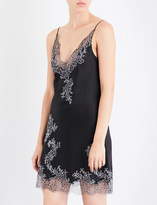 Carine Gilson Chantilly lace-trim silk-satin chemise