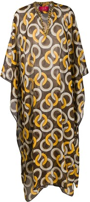 F.R.S For Restless Sleepers Chiffon Geometric-Print Kaftan
