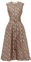 MSGM Belted Snake-print Satin Dress - Womens - Beige Multi