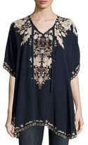 Johnny Was Egypt Embroidered Eyelet Poncho, Navy, Plus Size