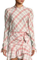 Veronica Beard Isabel Mock-Neck Button-Down Back Plaid Top