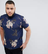 Asos DESIGN Plus polo with all over floral skull print