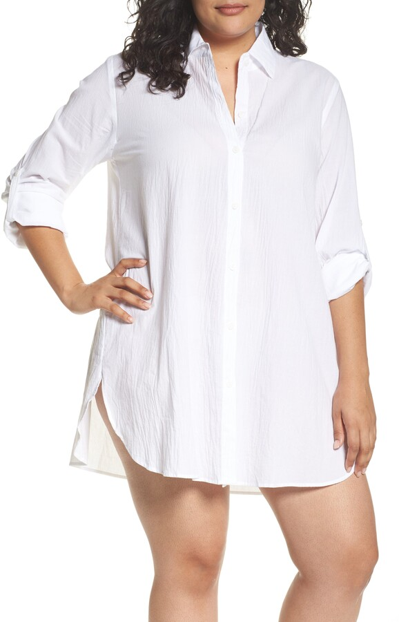 5866d5f496 White Button Up Cover Up - ShopStyle