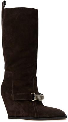 Rick Owens Embellished Suede Wedge Knee Boots