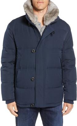 Andrew Marc Bryant Genuine Rabbit Fur Trim Coat