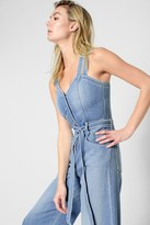 7 For All Mankind Button Front Culotte Playsuit In Luxe Lounge Coastal Blue