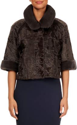 Gorski 1/2-Sleeve Mink-Trim Lamb-Fur Jacket