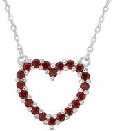 """Zales Garnet Heart Necklace in Sterling Silver - 17"""""""