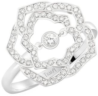 Piaget Rose 18K White Gold & Diamond Pave Ring