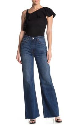 GRLFRND Carla High Rise Frayed Wide Leg Jeans