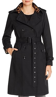 Jane Post Leopard Trim Belted Trench Coat