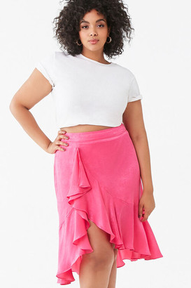 Forever 21 Plus Size Satin High-Low Skirt