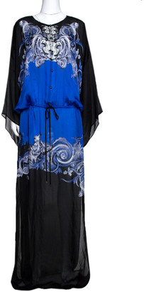 Roberto Cavalli Blue & Black Abstract Print Silk Maxi Dress L