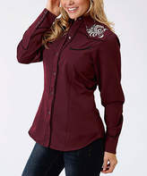 Roper Red Wine Embroidered Button-Up