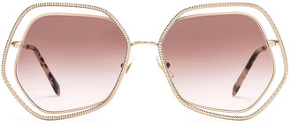 Miu Miu La Mondaine Sunglasses in Gold & Brown | FWRD