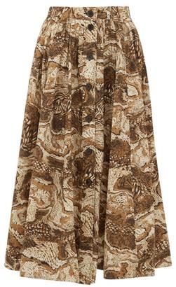 Ganni Tigers Eye-print Button-down Cotton Midi Skirt - Beige