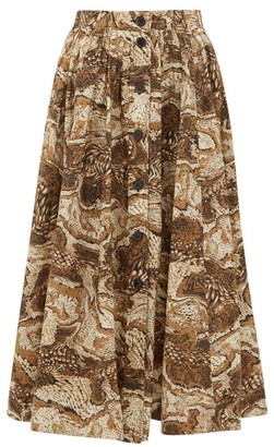 Ganni Tigers Eye-print Button-down Cotton Midi Skirt - Womens - Beige