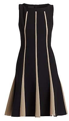 Akris Women's Sleeveless Grid Inset Wool A-Line Dress