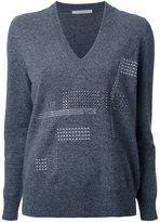 Christopher Kane Hotfix v-neck jumper - women - Polyamide/Spandex/Elastane/Cashmere/Wool - XS