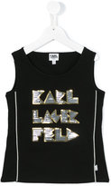 Karl Lagerfeld logo print tank top - kids - Cotton/Spandex/Elastane - 8 yrs