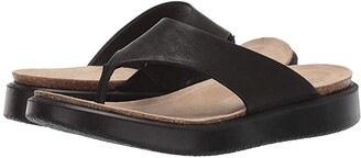 Ecco Corksphere Thong (Black Cow Leather) Women's Sandals