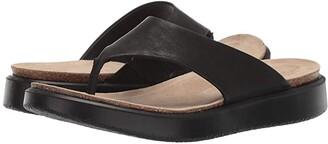 Ecco Corksphere Thong (Black Cow Leather) Women's Sandals