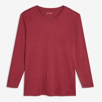 Joe Fresh Women+ Essential Long Sleeve Tee, Dark Red (Size 2X)