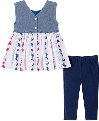 Tommy Hilfiger Girls' Casual Dresses 2012 - Blue Floral Contrast Sleeveless Tunic & Navy Leggings - Infant, Toddler & Girls