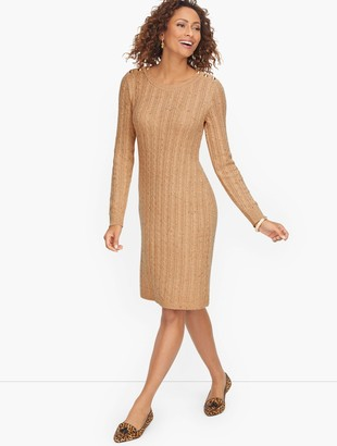 Talbots Cableknit Button Shoulder Sweater Dress