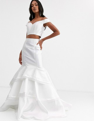 Jovani two pieces with ruffle skirt-White