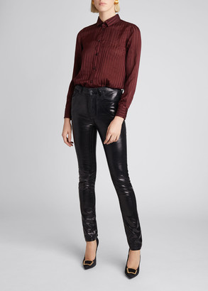 Saint Laurent High-Waist Shiny Skinny Jeans