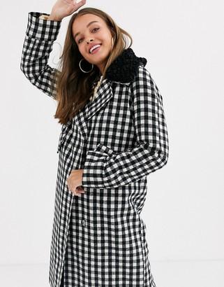 Asos Design DESIGN check coat with borg collar detail-Multi