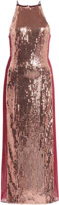 Galvan Sculpted Mesh-Paneled Sequined Midi Dress