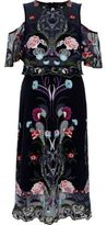 River Island Womens Navy floral embroidered mesh midi prom dress