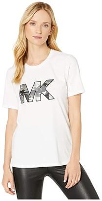 MICHAEL Michael Kors Camo MK Logo T-Shirt (White) Women's Clothing