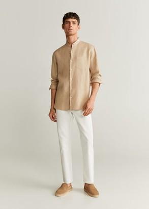 MANGO MAN - 100% linen regular fit shirt beige - XS - Men